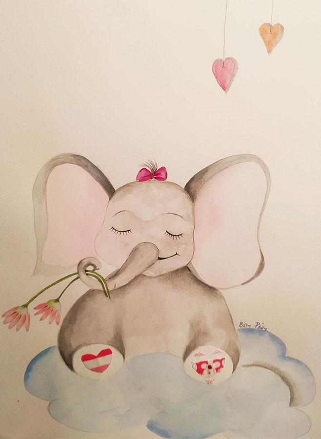 Χειροποίητο καδράκι ελεφαντάκι Zano